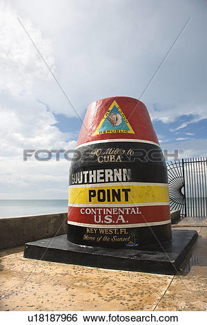 Stock Images of Southernmost point landmark of Key West, Florida.
