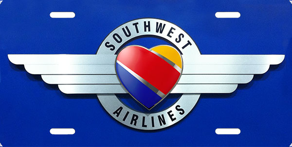 New Southwest Airlines Logo License Plate, License Plate.