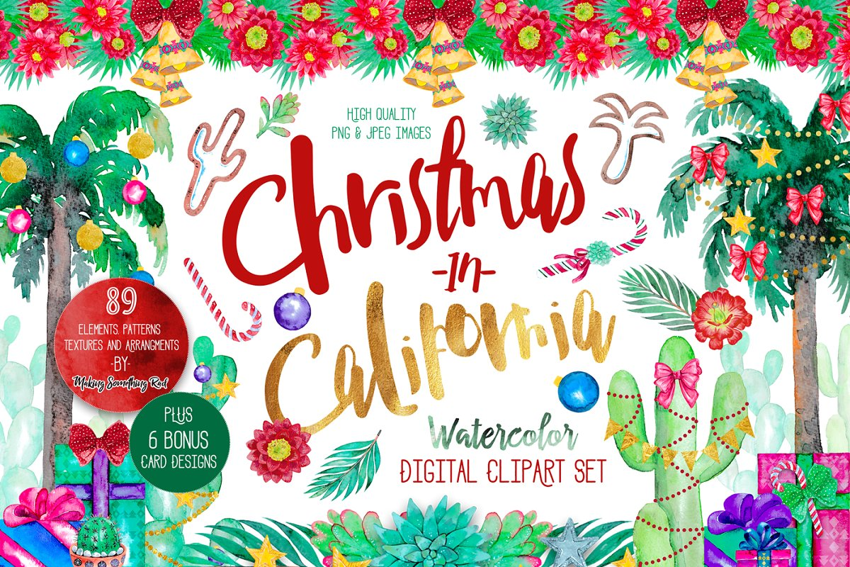 Christmas in California clipart set ~ Illustrations.