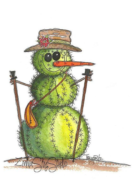 Southwest Cactus Snowman.