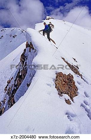 Stock Photography of climbing the Southwest Ridge of Borah Peak.