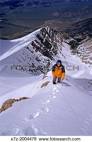 Stock Photograph of climbing the Southwest Ridge of Borah Peak.