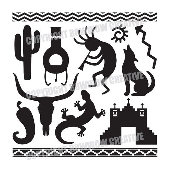 Set of Southwestern Silhouette Designs, Digital Vector Clip Art.