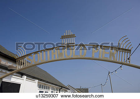 Picture of England, Suffolk, Southwold. Southwold Pier sign over.