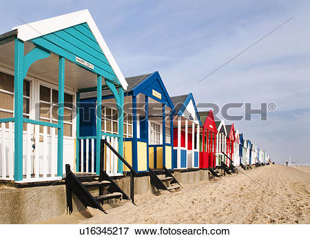Picture of England, Suffolk, Southwold. Colourful beach huts along.