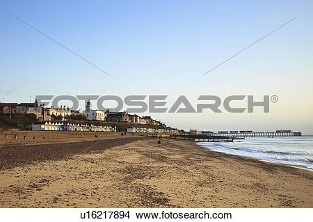 Stock Photo of England, Suffolk, Southwold. A view along the sandy.