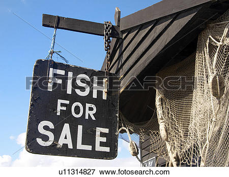 Picture of England, Suffolk, Southwold, Signage on a fish stall on.