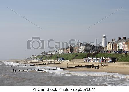 Stock Photography of Seafront at Southwold, Suffolk, England.