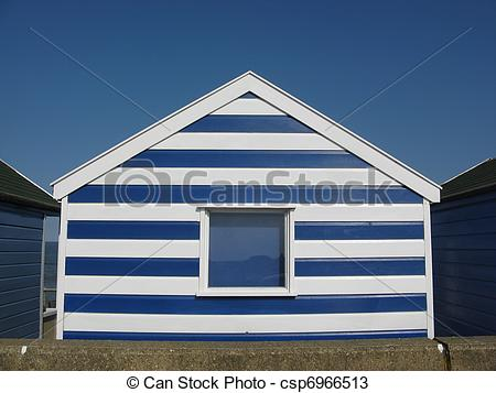 Stock Photos of Striped beach hut in Southwold.