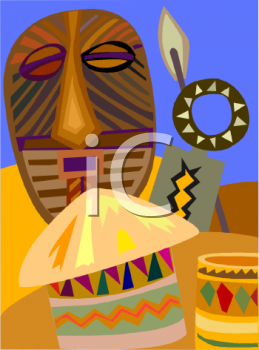 Travel Ad African Masks and Souvenirs.