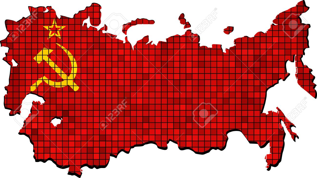 Soviet Union Map With Flag Inside.