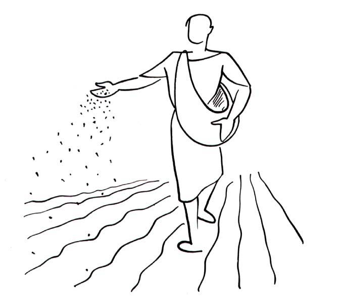 Farmer Sowing Seeds Clipart.