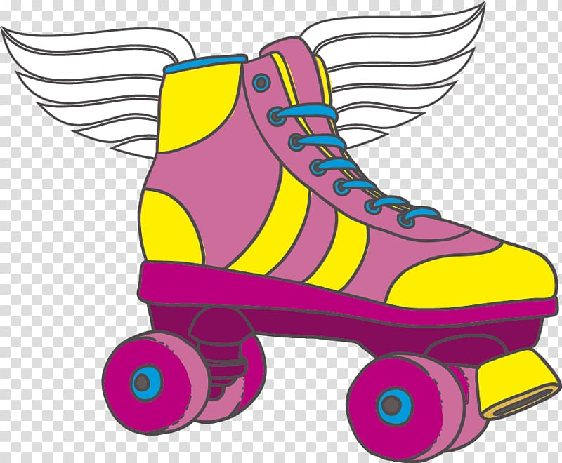 Unpaired pink and yellow roller skate , Patín Tart Isketing.
