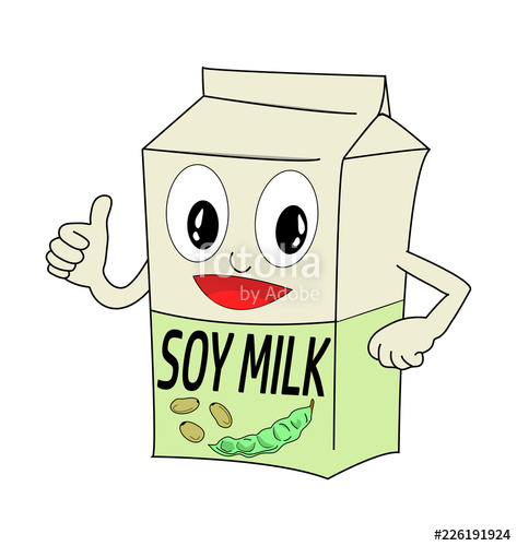 Vector of a soy milk box. Animated cartoon with face and.