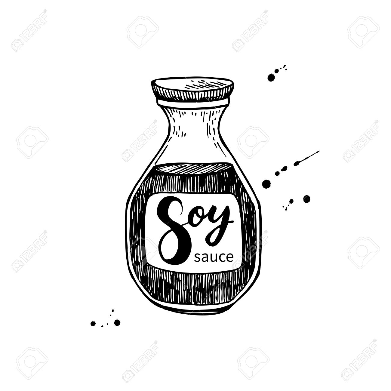 Soy Sauce Vector Bottle. Isolated Food Drawing. Hand Drawn.