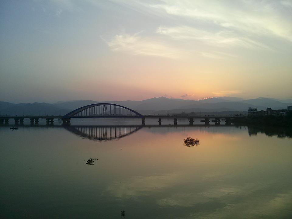 Free photo Arch Glow Bridge Soyang River River Sky Chuncheon.