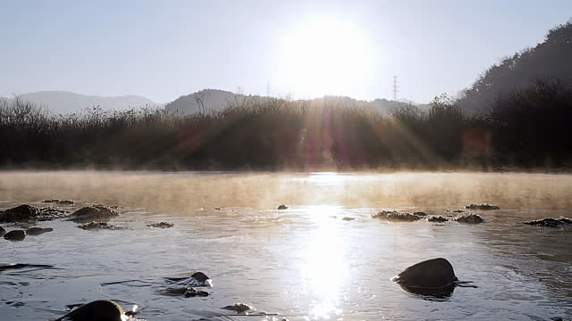 Ms Tl View Of Sunrise Of Soyang River Covered With Fog Chuncheon.