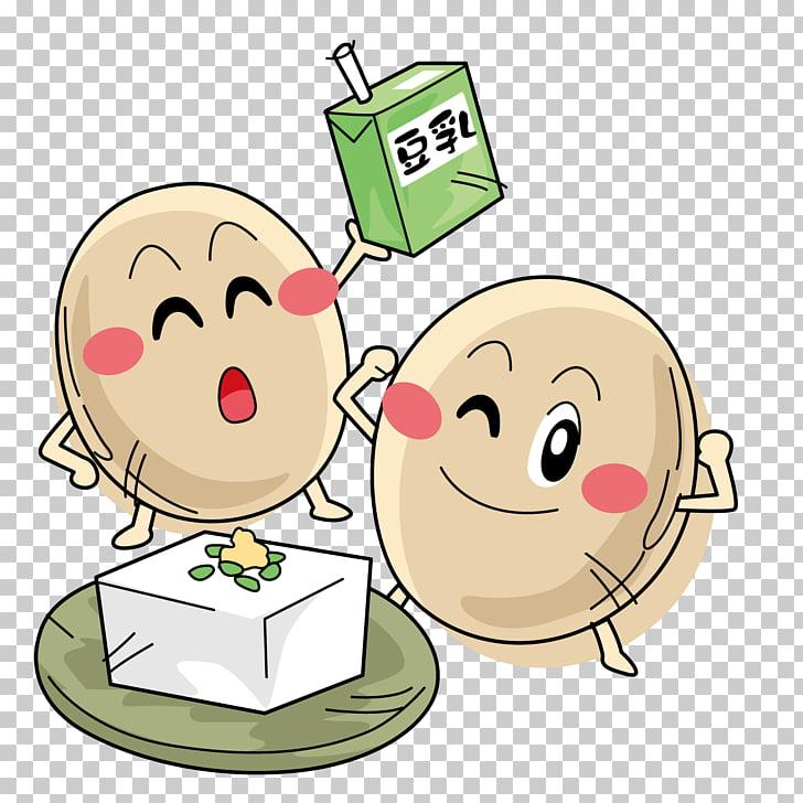 Soy milk Soybean Cartoon, Eggs and soymilk PNG clipart.