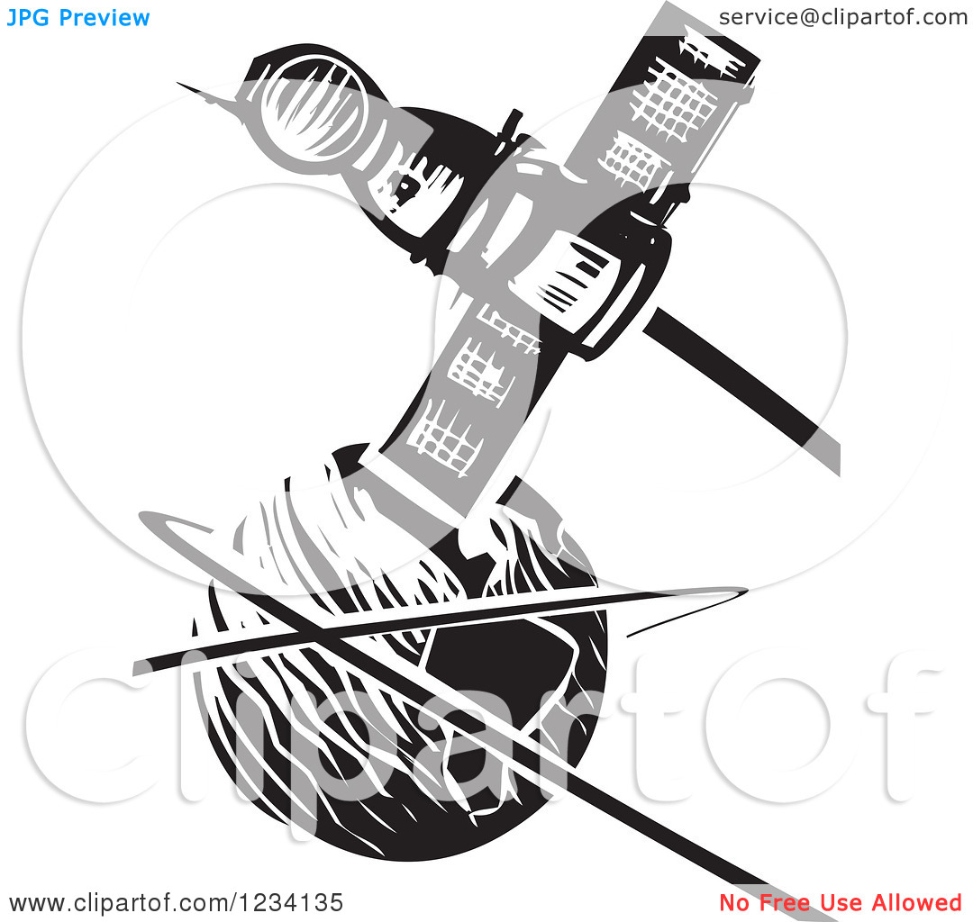Clipart of a Woodcut Soyuz Satellite over Earth, in Black and.