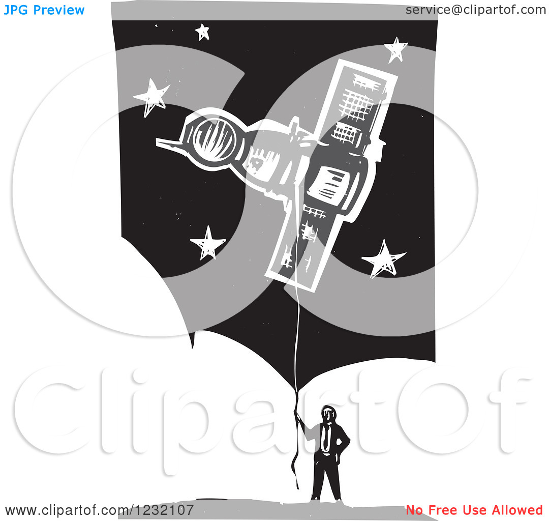 Clipart of a Woodcut Businessman with a Soyuz Balloon over Clouds.