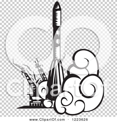 Clipart of a Woodcut Russian Soyuz Rocket Launching, in Black and.