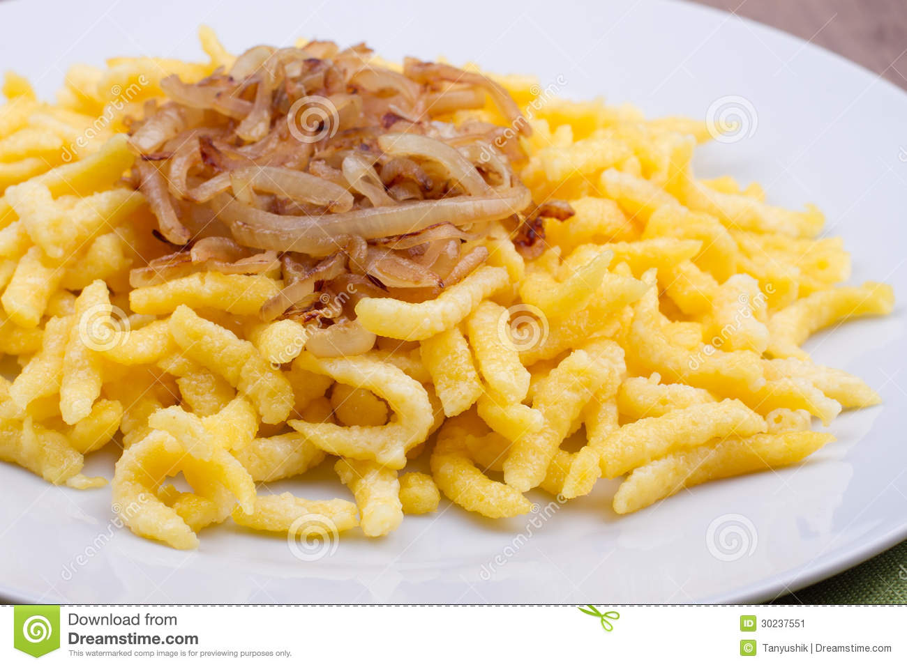 Spaetzle With Fried Onion Stock Image.