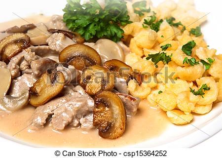 Stock Bilder von Pilze, Schweinefleisch, spaetzle.