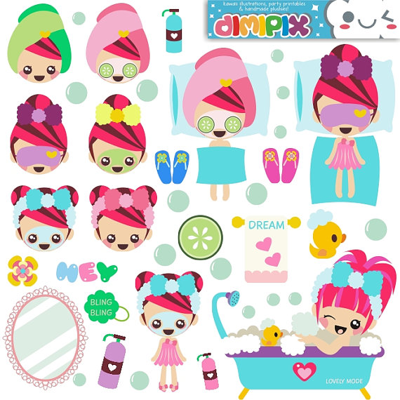 Spa Party Digital Clipart / Girls Spa Party Cute Clip art For.