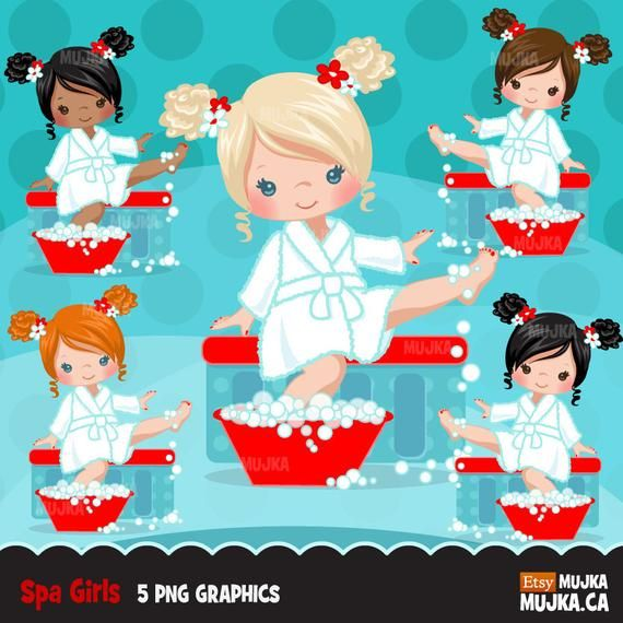 Spa party girl clipart graphics, bath, , scrapbooking.