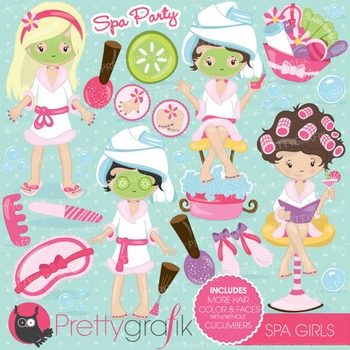 Spa girls clipart commercial use, vector graphics, digital.