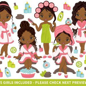 75 Spa Girls Clipart.