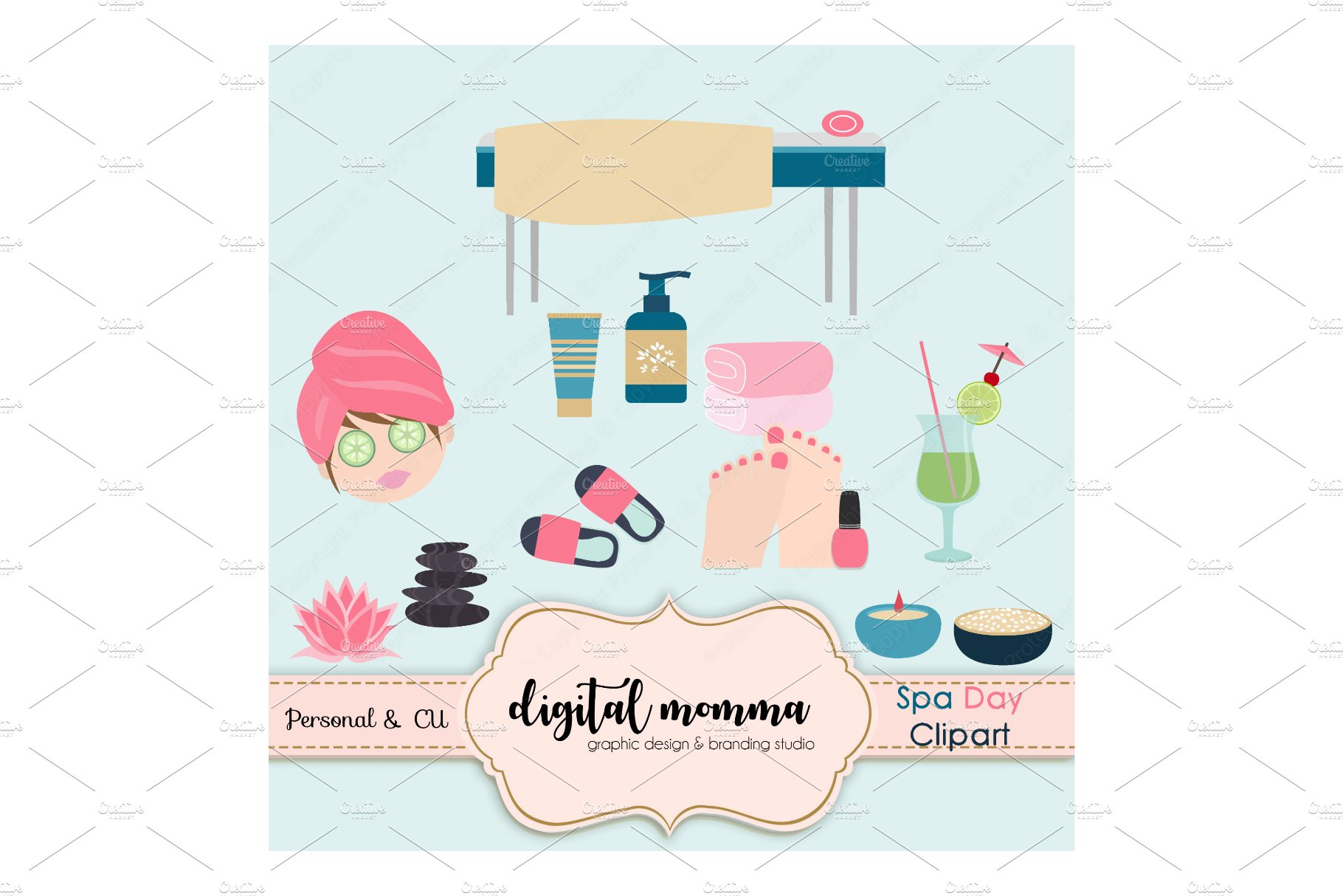 Spa Day Clipart Set.