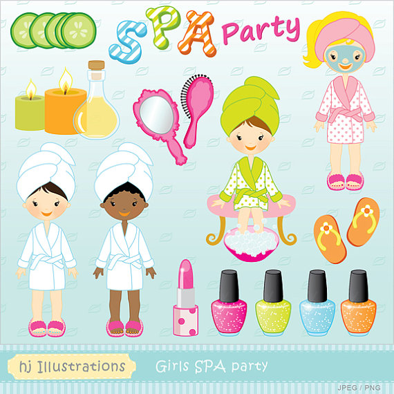 Girls Spa Party, Spa Party Graphics, Spa Clipart, Facial, Robes.