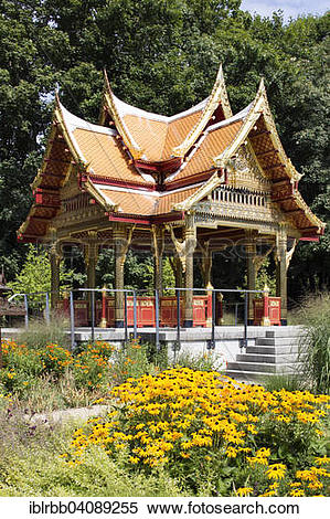 Stock Image of Sala Thai Pavilion, Thai temple in the spa gardens.