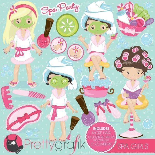 Spa girls party clipart.