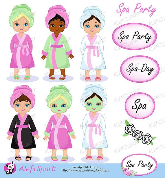 Spa Party Digital Clipart. Girls Spa Party. For personal and.