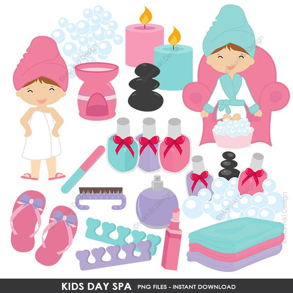 Kids Spa Clipart, Girls Day Spa Clip Art, Slumber Party.
