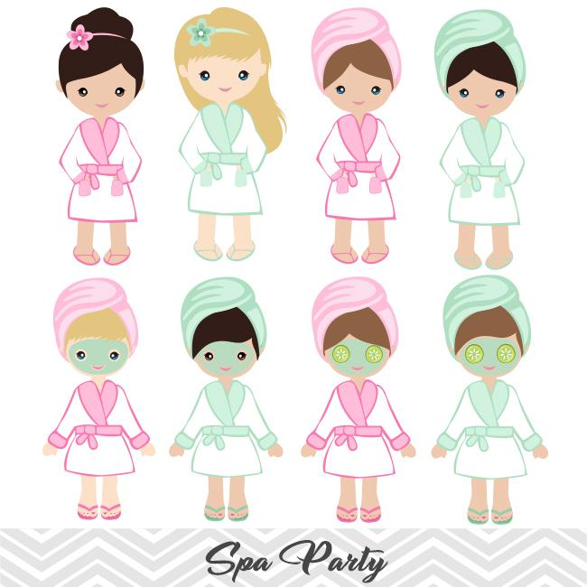 Spa Girls Digital Clip Art, Girls Spa Party Clipart, 00182.