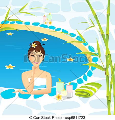 Vectors of Lady taking Spa.