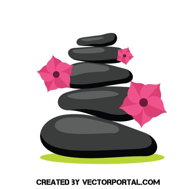 Stacked spa stones vector clip art.