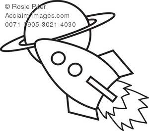 Outer Space Clipart Black and White.