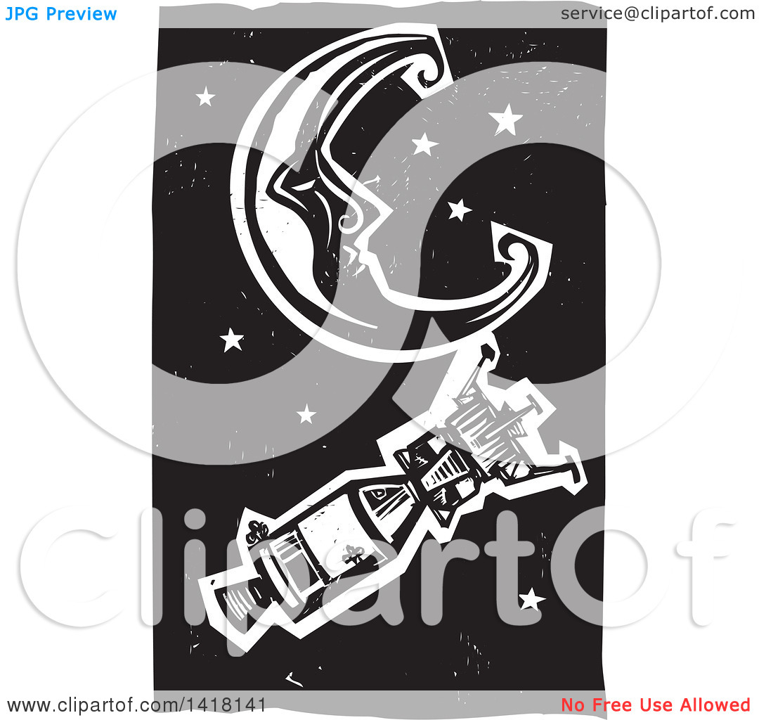 Clipart of a Black and White Woodcut Crescent Moon and Stars with.