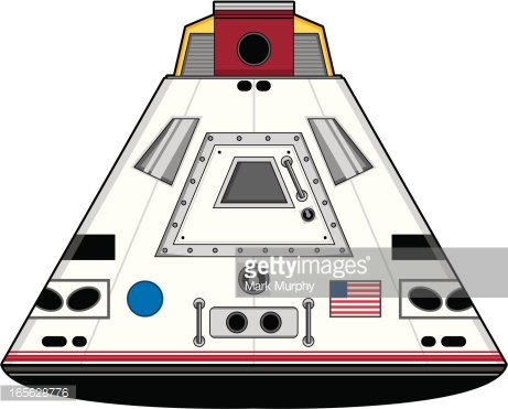 Stylised Space Capsule Landing Vector Art.
