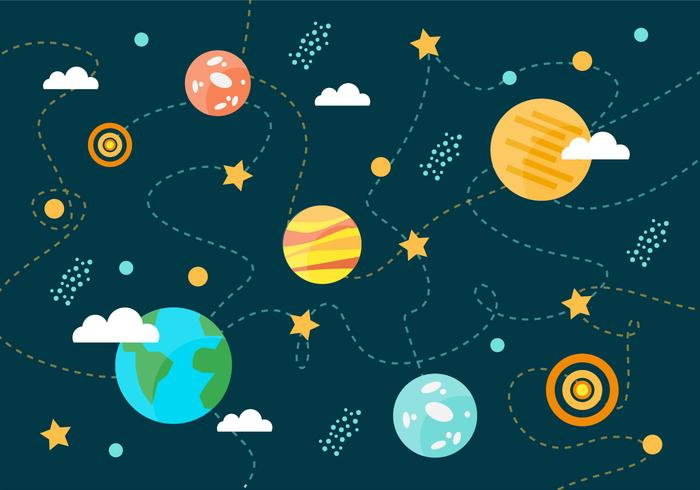 Collection of Space Planets Vector Background.