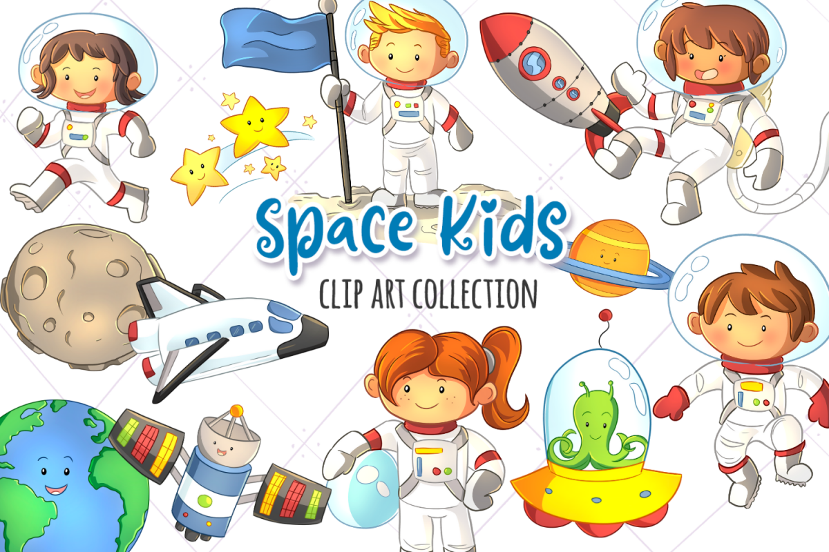 Space Kids Science Clip Art Collection.