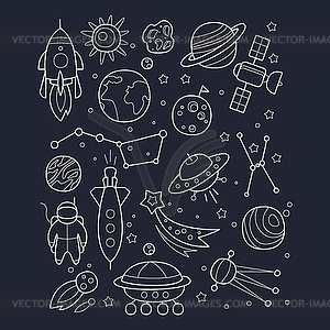 Space And Cosmic Objects Black White Wallpaper.