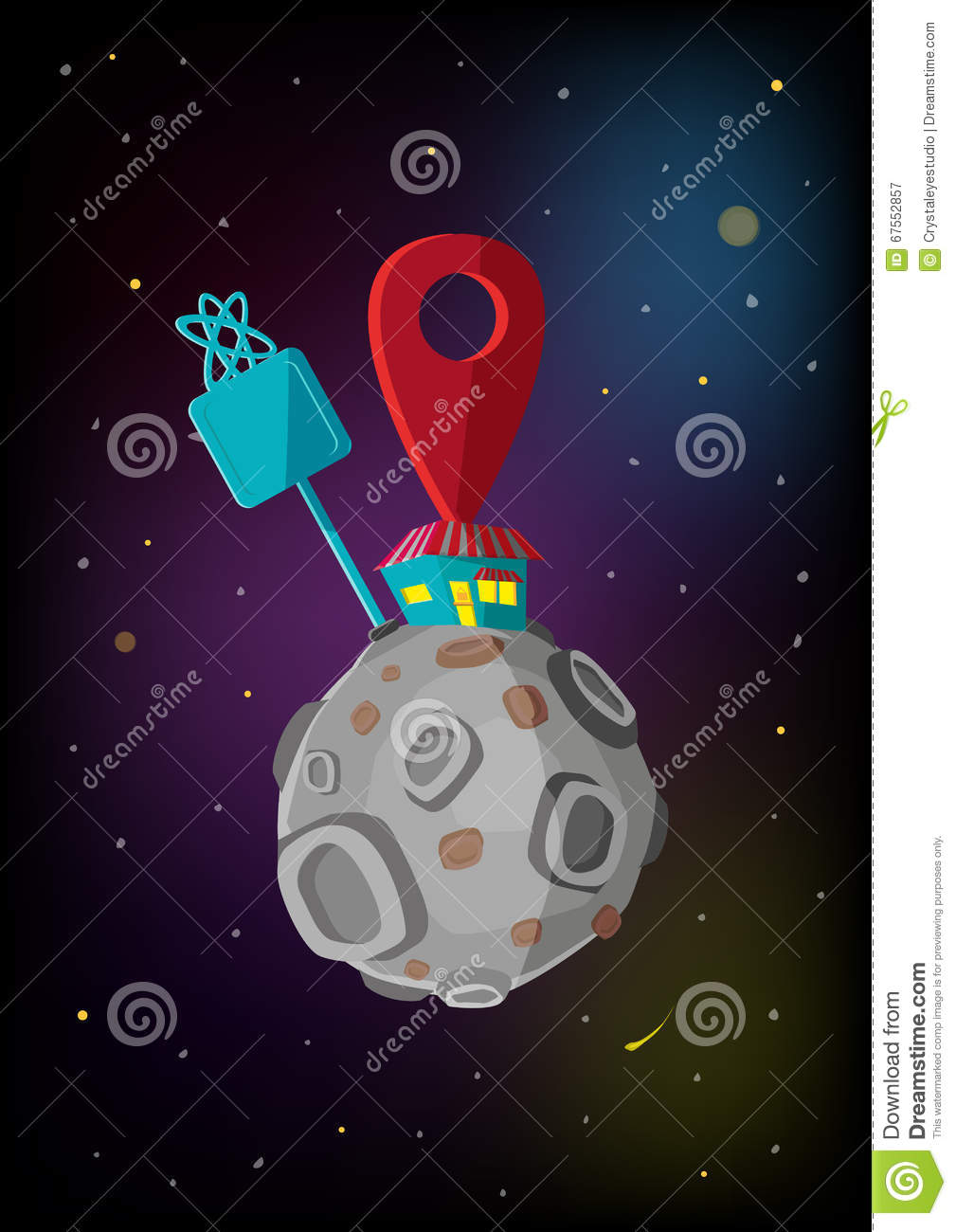 Locator Icon In Space Concept. Editable Clip Art. Stock Vector.