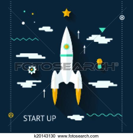 Clipart of Retro Flat Design Space Launch Start Up Concept New.