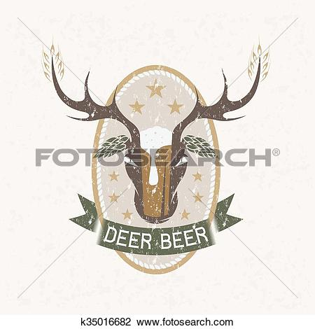 Clipart of deer beer negative space concept grunge vector label.