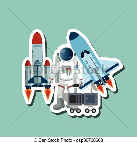 Clip Art Vector of Astronaut sign. space concept. cosmos icon.